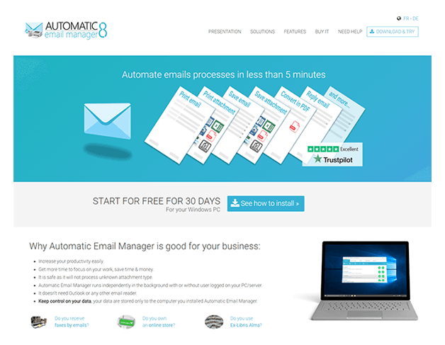 Site pour Automatic Email Manager